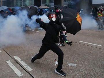 Uno de los manifestantes en Hong Kong
