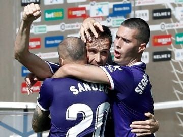 Míchel celebra un gol con el Valladolid