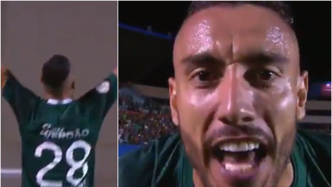 La celebración de Alan Ruschel tras su primer gol con el Goias