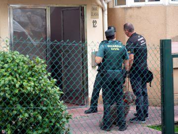 Agentes de la Guardia Civil junto a guías caninos, durante el registro efectuado este miércoles en el piso de la mujer detenida en Castro Urdiales