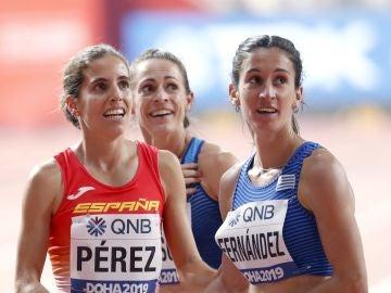 Marta Pérez, junto a la uruguaya María Pia Fernández