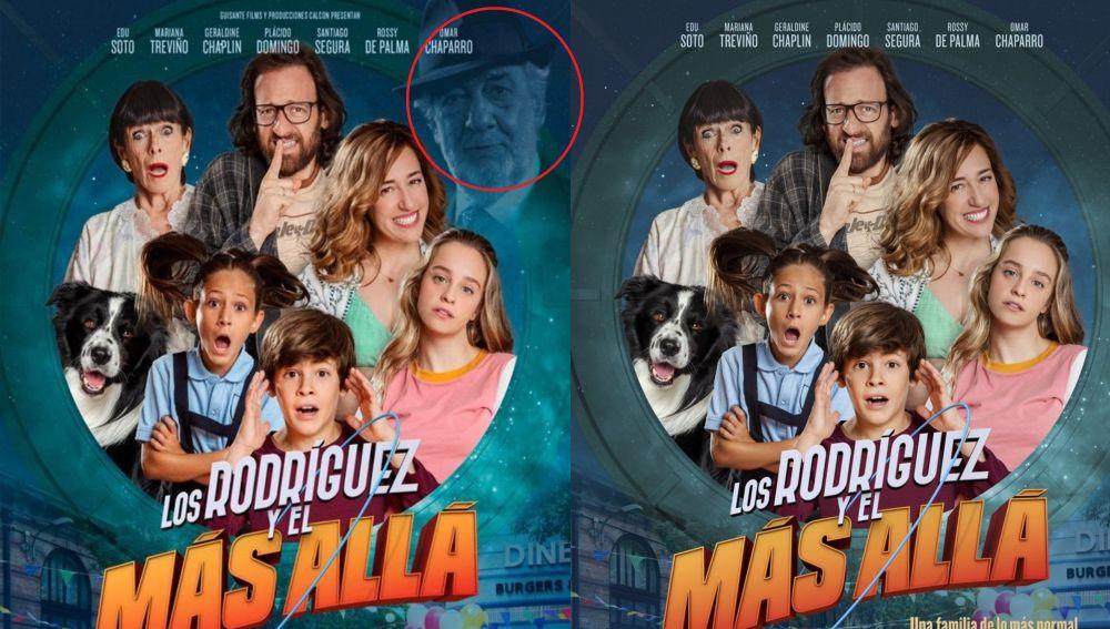 El cartel original de la película, y el cartel sin Plácido Domingo