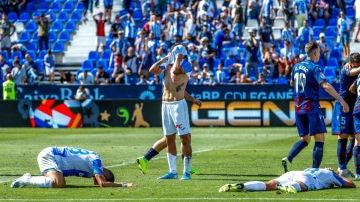 Los jugadores del Leganés, hundidos