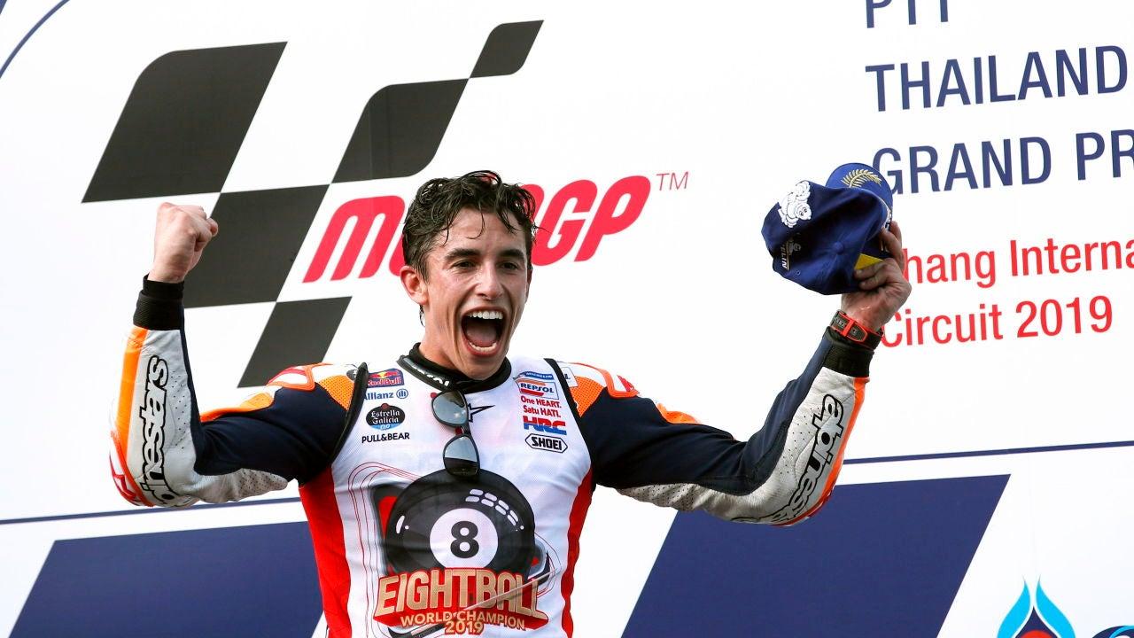 Marc Márquez celebra su título de campeón del mundo de MotoGP