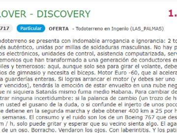 Imagen del anuncio de la venta de un todoterreno en Canarias