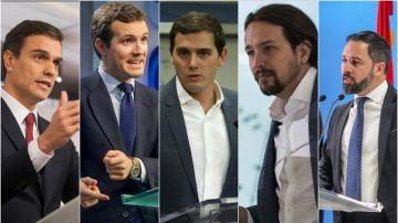 Los líderes de los cinco principales partidos