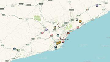 Mapa en tiempo real de los cortes de carreteras en Cataluña