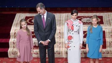 Los reyes, la princesa de Asturias y la infanta Sofía en Oviedo.