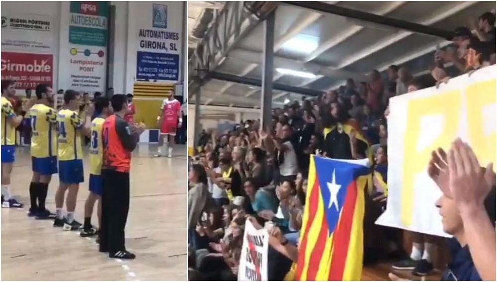 Reivindicación política en un partido de balonmano