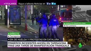 Cargas policiales en Tarragona tras finalizar la manifestación pacífica