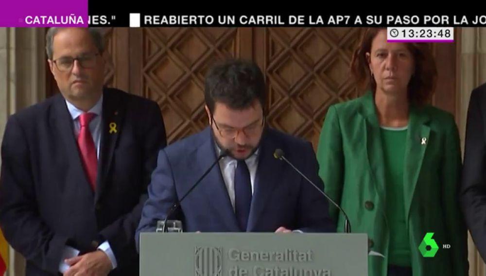 """Pere Aragonès pide al Gobierno que la Policía Nacional """"actúe en Cataluña como cualquier policía democrática"""""""