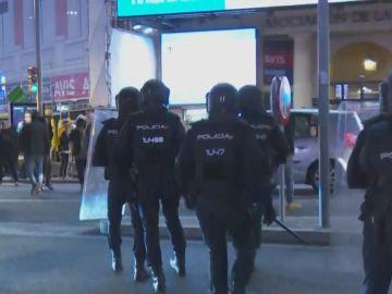Miembros de Policía Nacional durante la manifestación en Madrid