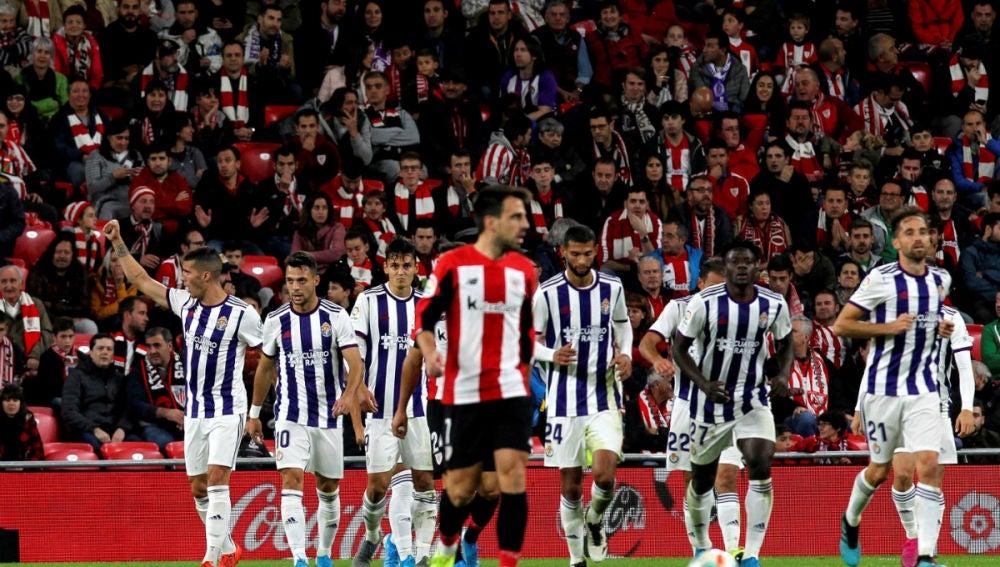 El Valladolid celebra un gol