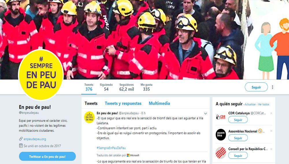 Perfil de la cuenta de Twitter de 'En Peu de Pau'.