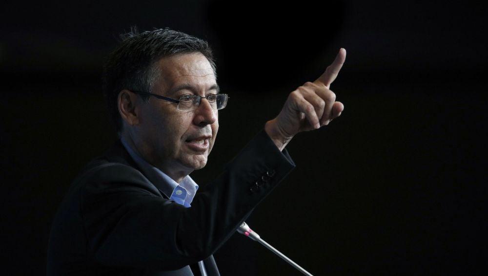 Josep María Bartomeu habla ante los medios de comunicación