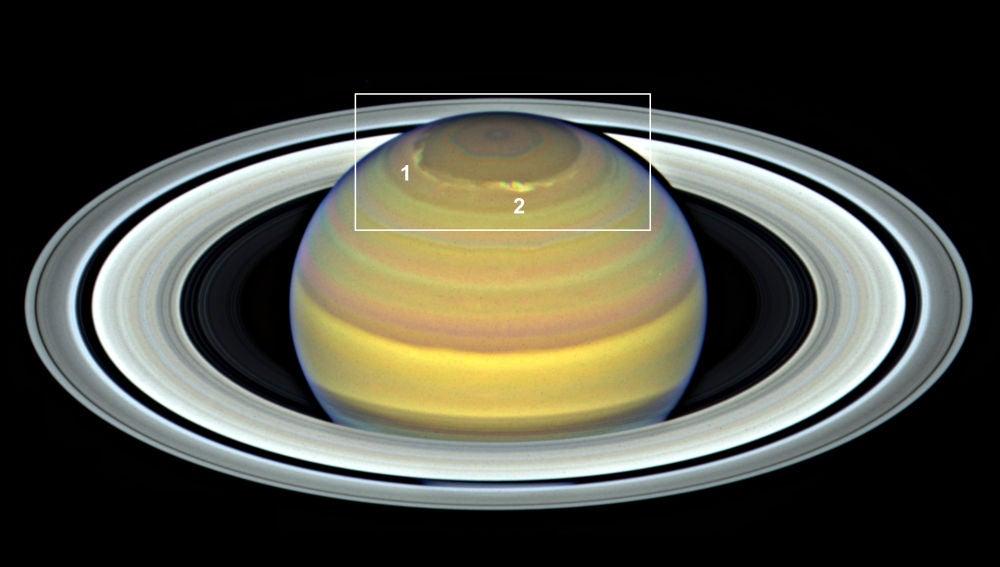 Tormentas multiples en el polo norte de Saturno