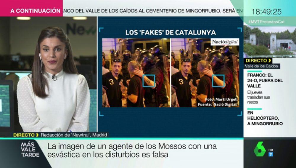 Agentes con esvásticas o catapultas en Barcelona: los bulos y las imágenes falsas de las protestas en Cataluña