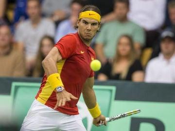Rafa Nadal, durante un partido con España de la Copa Davis