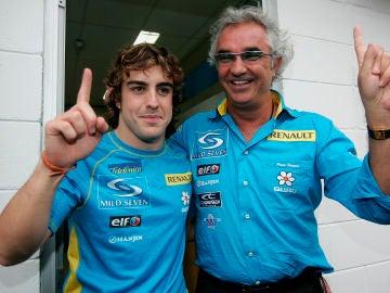 Fernando Alonso y Flavio Briatore, durante su época en Renault