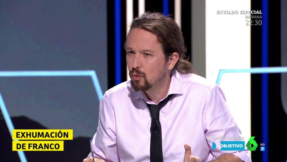 """Pablo Iglesias: """"Es poco respetuoso con las víctimas del franquismo ponerse medallas por sacar en periodo electoral a la momia del Valle de los Caídos"""""""