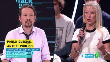 """El reproche de una catalana no independentista a Pablo Iglesias: """"Las fuerzas de seguridad nos están ayudando, y no les están apoyando"""""""