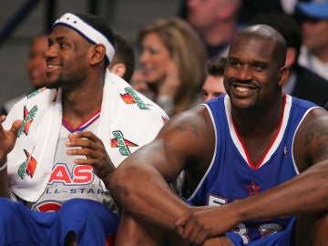 LeBron James y Shaquille O'Neal, durante el All Star de 2005