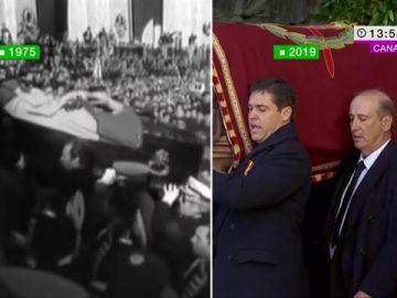 Dos imágenes históricas separadas por 44 años: así entró y así ha salido Franco del Valle de los Caídos