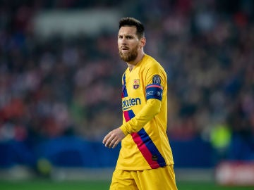 Leo Messi, durante el partido contra el Slavia de Praga