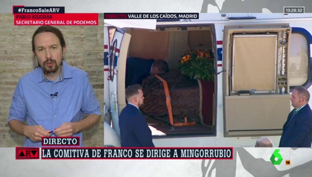 """Pablo Iglesias: """"Está bien que la momia deje el Valle de los Caídos, pero los restos de Franco no están en ese ataúd"""""""
