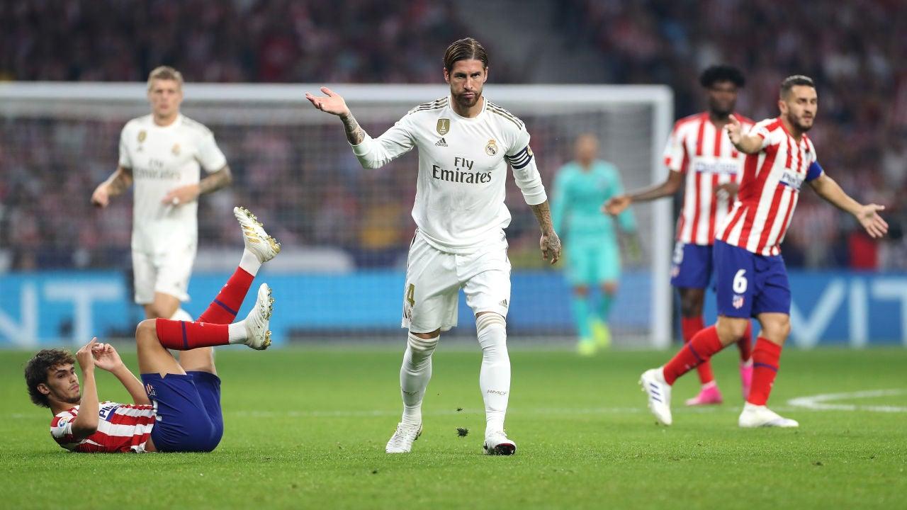 Sergio Ramos, durante un partido contra el Atlético de Madrid