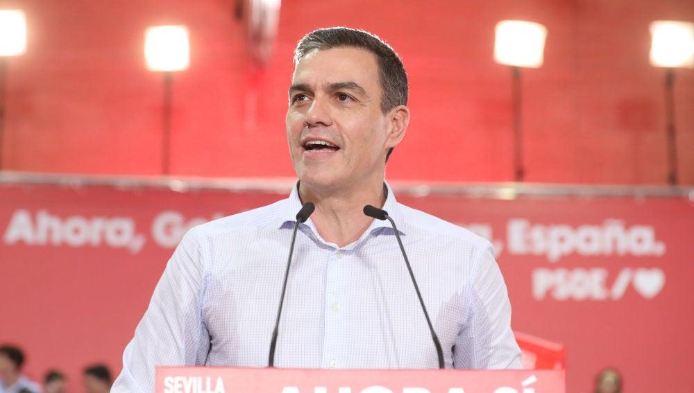 Pedro Sánchez en un acto de campaña de las elecciones generales del 10N, Sevilla