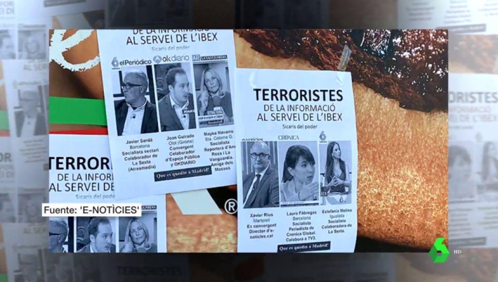 """Periodistas catalanes, señalados como """"terroristas"""" en carteles anónimos"""