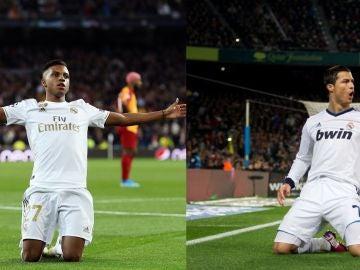 Rodrygo Goes y Cristiano Ronaldo celebrando un gol arrodillados