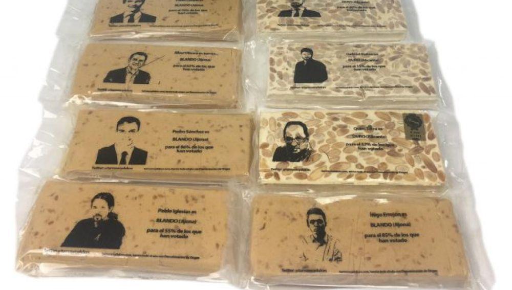 La cara dulce de las elecciones generales: turrones con las caras de los políticos españoles