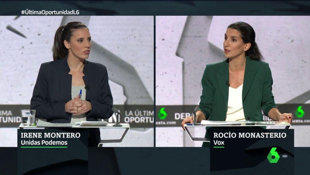 """Irene Montero, a Rocío Monasterio: """"Reventar el minuto de silencio por una mujer asesinada es de ser un desalmado"""""""