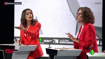 María Jesús Montero e Inés Arrimadas en el debate de laSexta