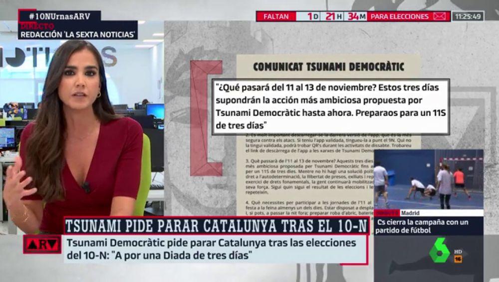 """Tsunamic Democràtic convoca su """"acción más ambiciosa"""" tras las elecciones del 10N"""