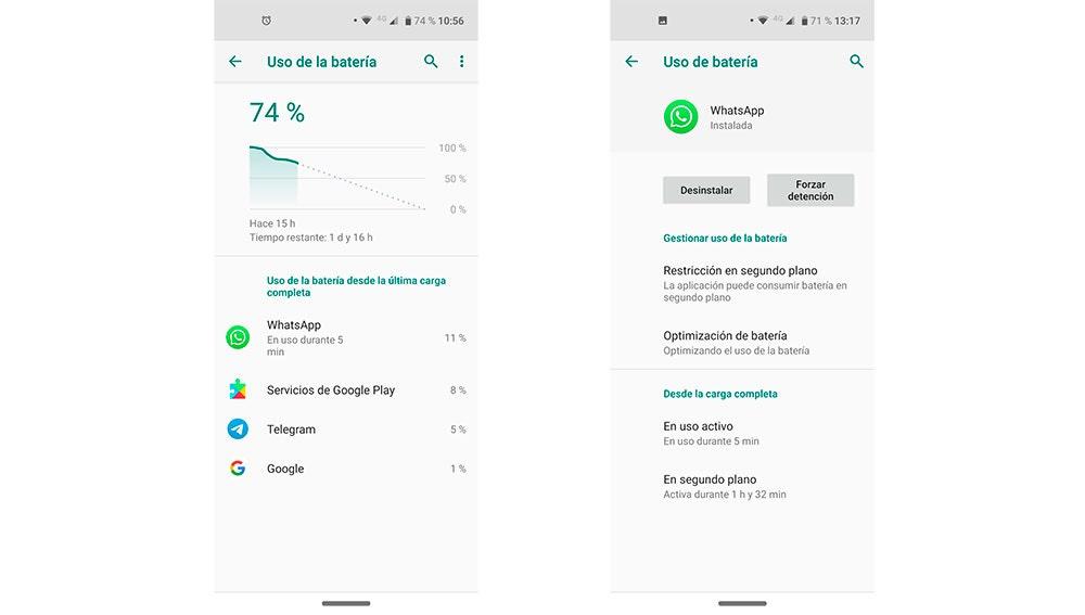Consumo de batería en Android