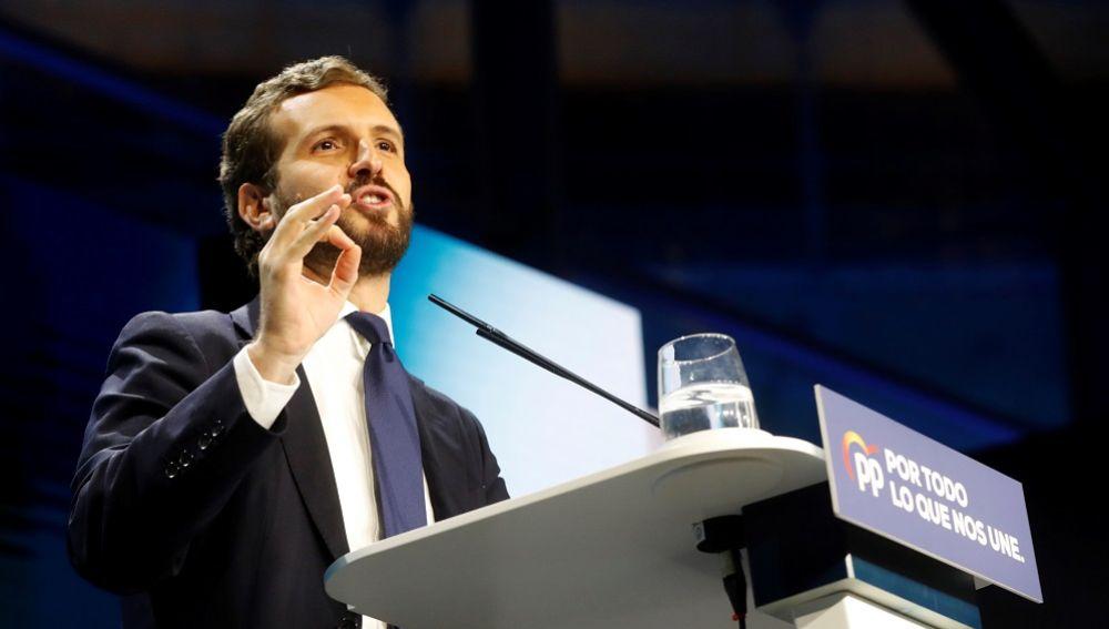 Pablo Casado en el acto de cierre de campaña del PP