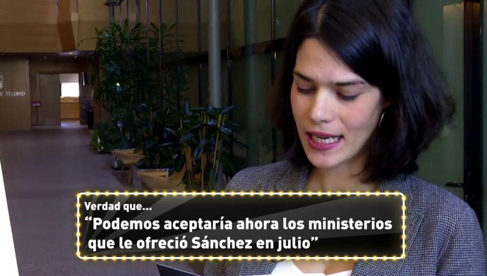 """""""¿Podemos aceptaría ahora los ministerios que Sánchez les ofreció en julio?: el juego de la 'verdad' a políticos de diferentes partidos"""