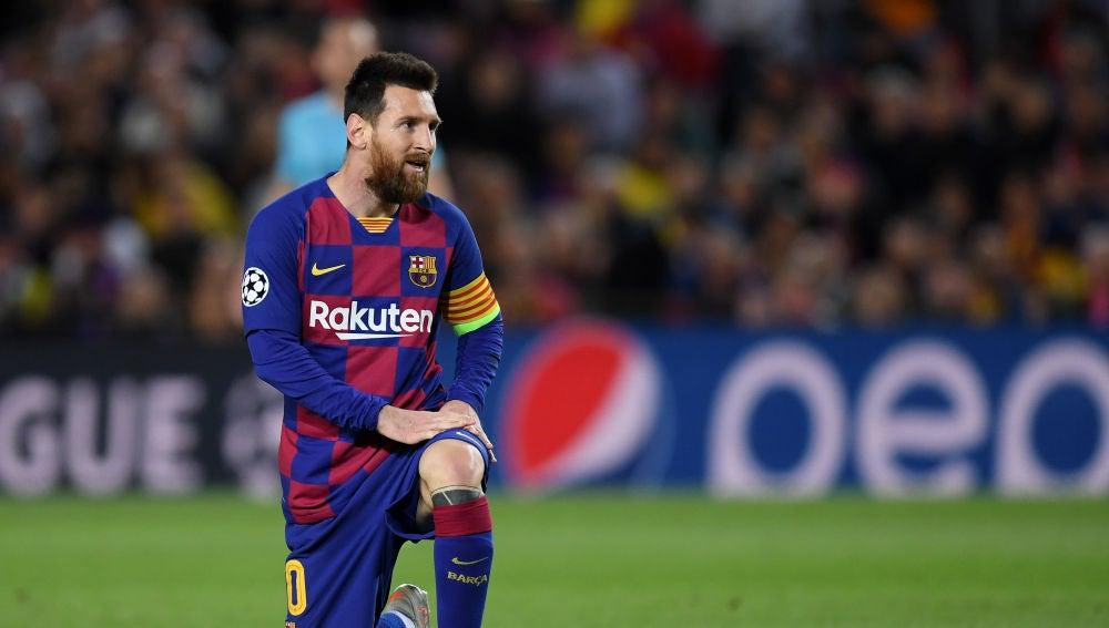 Messi durante el encuentro contra el Slavia de Praga