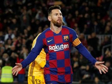 Messi celebra uno de sus goles con el Barça