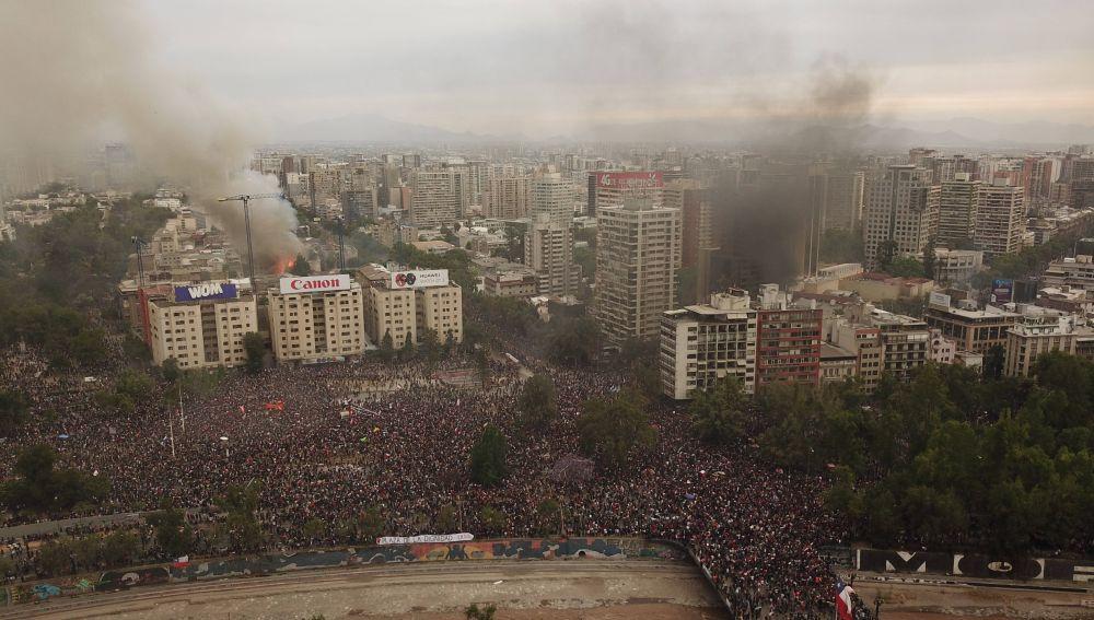 Santiago de Chile tras las protestas.