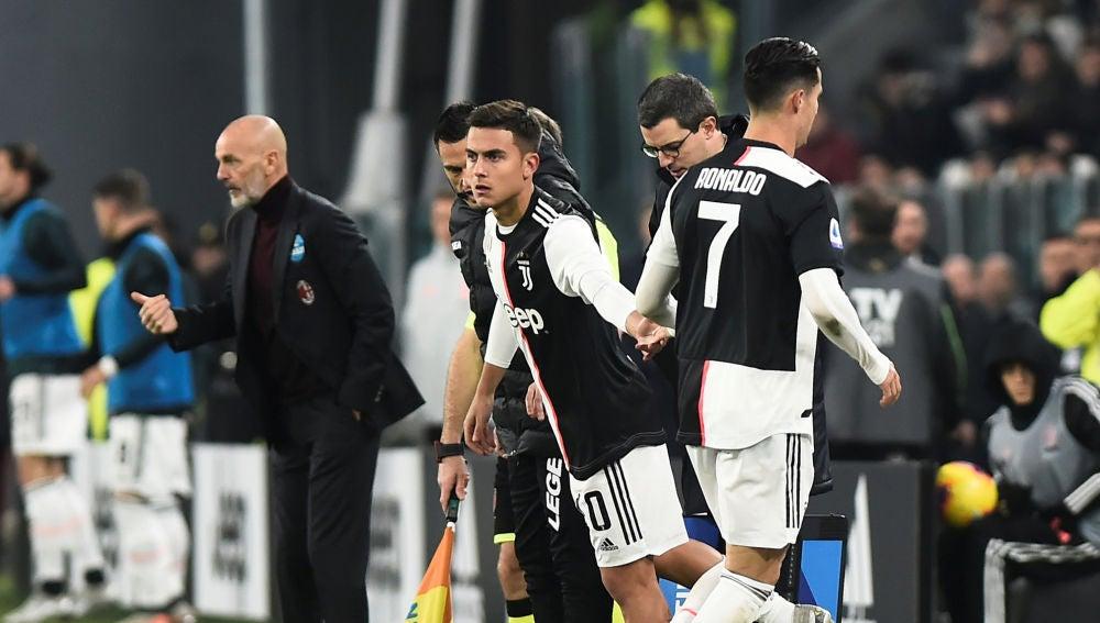 Cristiano Ronaldo sustituido por Dybala
