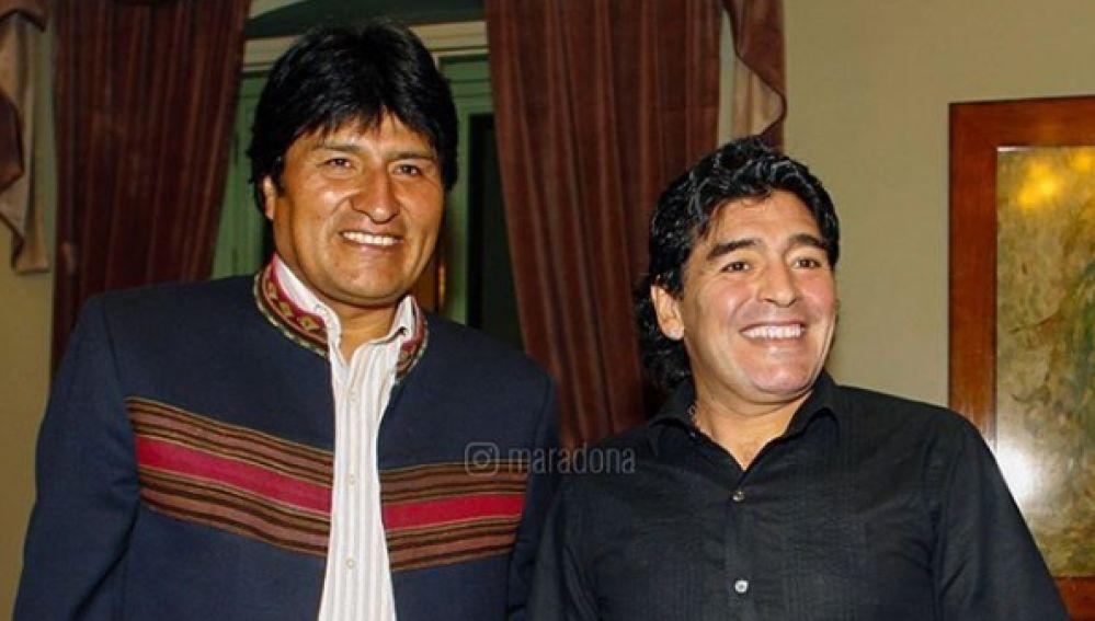 Evo Morales y Diego Armando Maradona