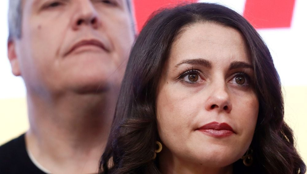Inés Arrimadas, durante el anuncio de la dimisión de Rivera