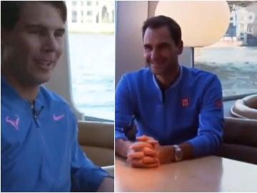 Nadal, Federer y Djokovic conversan