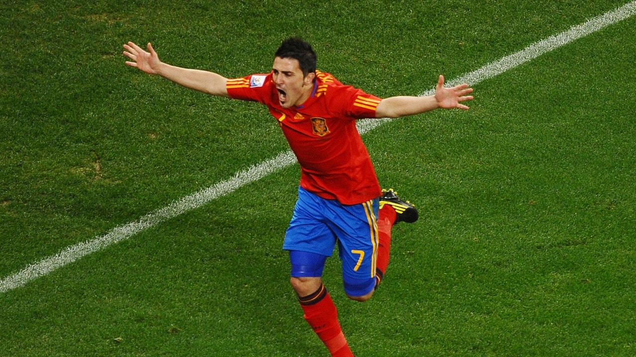 David Villa durante un partido de la Selección Española