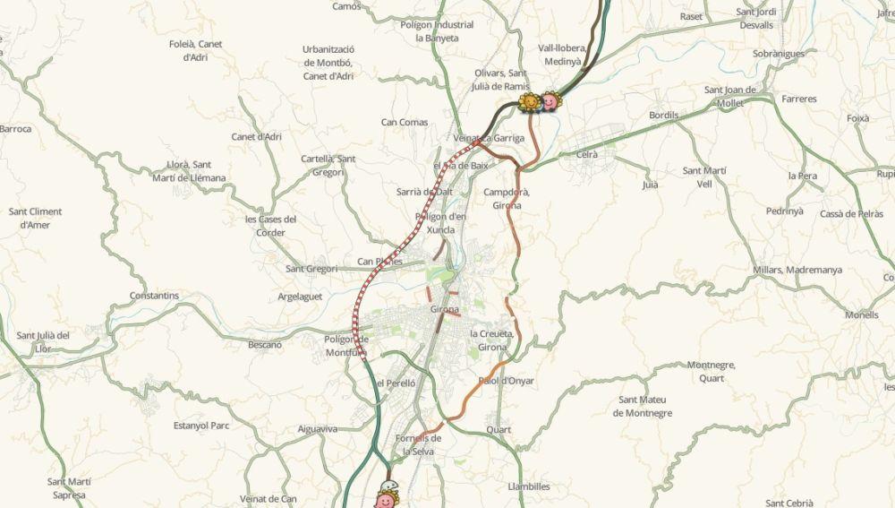 Mapa del estado de las carreteras en Girona