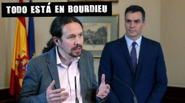 Pablo Iglesias, durante la firma del preacuerdo de Gobierno con el PSOE